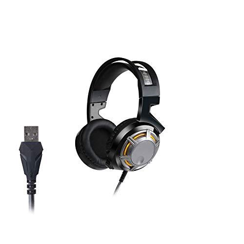 HAOSHUAI PC gaming headset, lichte hoofdtelefoon 40MM aandrijving en noise cancelling microfoon volumeregeling zware bas hoofdtelefoon, met LED-licht (kleur: zwart)