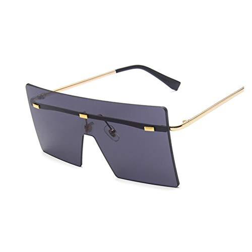 ZZDH Gafas de Sol Vintage Oversized Square Gafas de Sol Plaza Mujeres Mujeres Gafas de Sol Negro Moda Gradiente Gafas Mujeres Unisex Regalo para Madres (Lenses Color : Gold Gray)