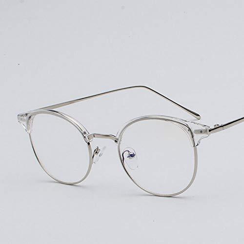 ZHAOXQ Flachgläser Männer und Frauen-rundes Feld Metall Mode Wildl Halbrahmenbrille Studenten Casua Leicht (Color : Clear)
