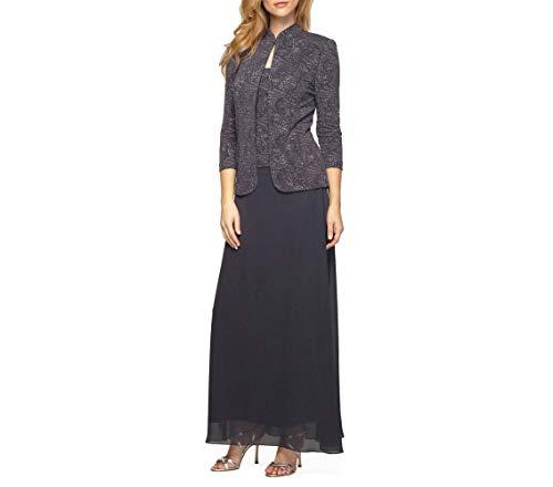 Alex Evenings Women's Jacquard Long Dress Mandarin-Neck Jacket (Petite Regular), Smoke, 12 (Apparel)