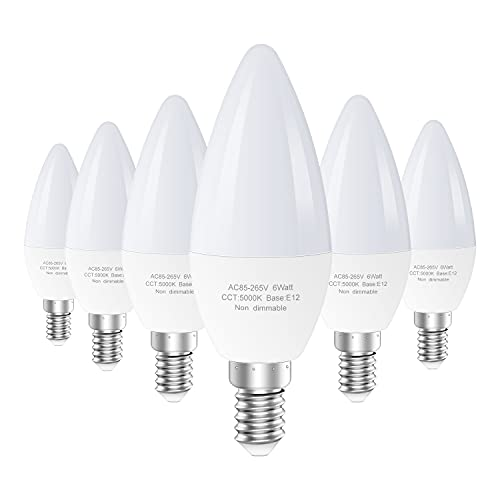 Bombillas LED E12, 5000 K para ventilador de techo, equivalente a 60 W, tipo B, bombilla pequeña, 550 LM, bombilla de vela no...