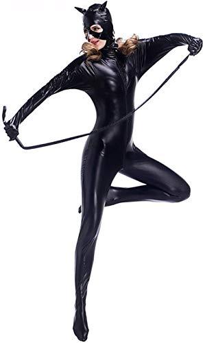 MEIGUI Erotische Dessous Erotische Kleidung Siamesisches Lackleder-Outfit Für Katzenmädchen Bewerben Für Nachtshow Party Bühne Halloween,1X-Black