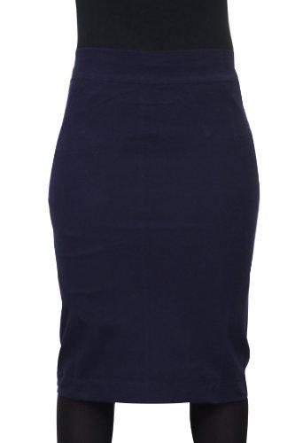 Kiki Riki Women's Cotton Pencil Skirt Basic Colors Basic Colors-Navy-X-Small