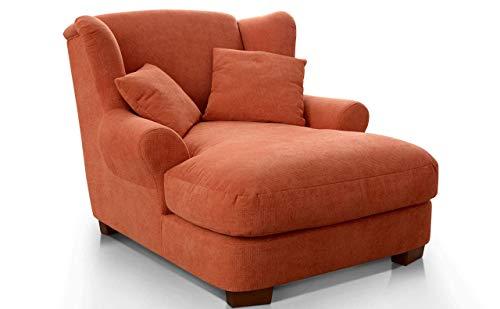 CAVADORE XXL-Sessel Oasis / Großer Polstersessel im modernen Design / Inkl. 2 schöne Zierkissen / 120 x 99 x 145 / Webstoff in terra