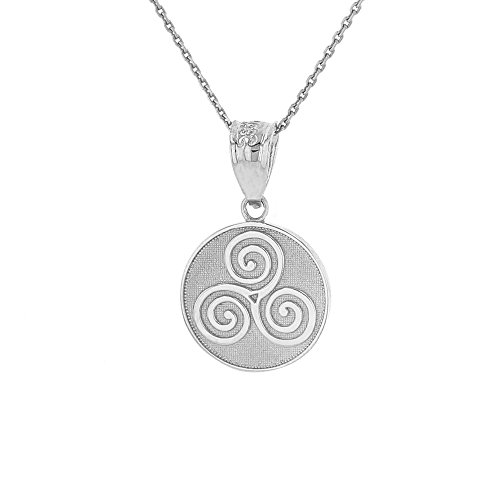 925 Sterling Silver Celtic Triple Spiral Triskele Round Pendant Necklace, 16'
