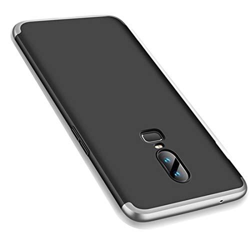 OnePlus 6 Hülle, Ultra Dünn 3 in 1 Schutzhülle 360 Grad Komplettschutz Case, Anti-Slip, Kratzer Hart PC Skin Rückdeckel Schutzhülle für One Plus 6 (OnePlus 6, Silber + Schwarz)