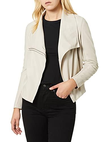 BB Dakota Women's just Ride Textured Vegan Leather Moto Jacket, Parchment, large