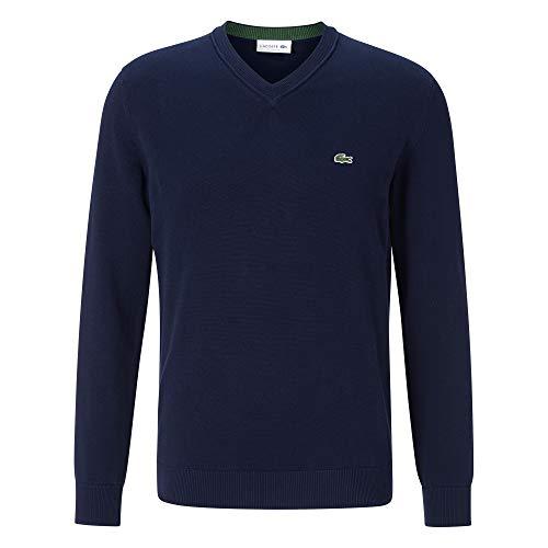 Lacoste Herren AH2183 Rollkragenpullover, einfarbig Uni klassisch Basic Sweater Sweatjacke Pullover Pulli Rollkragen Langarm,Navy Blue (166),4XL (9)