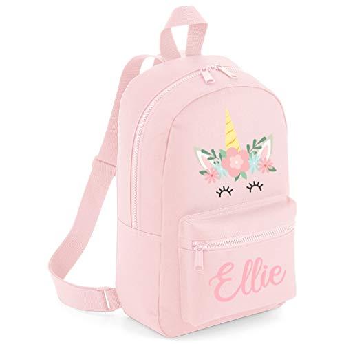 Girls Personalised Unicorn Flower Backpack - School Back to School Custom Name Unicorn School Girl - Personalised Kids Bag, Powder Pink