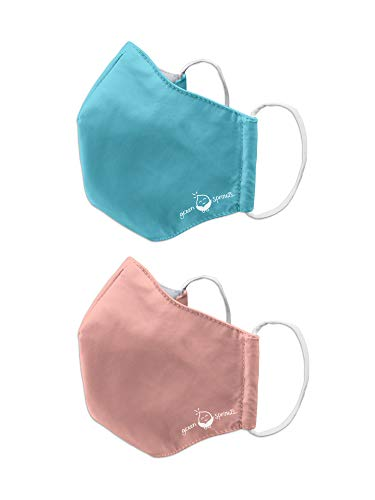 i play. by green sprouts 2 Pack Reusable Face Mask and Storage Bag with Carbon Filter and Water-Resistant Youth/Adult Small Aqua Coral