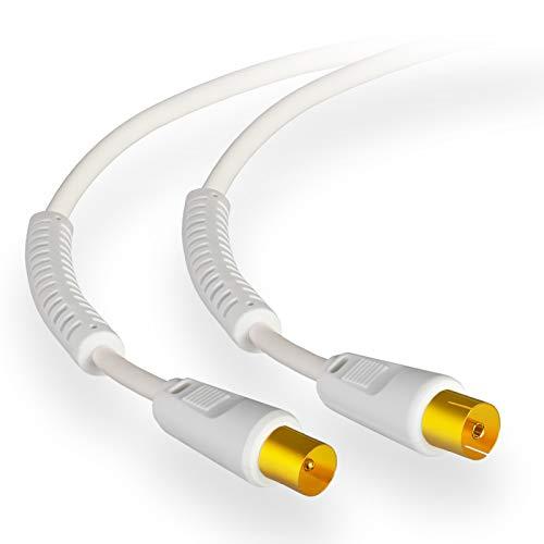 15m HB-DIGITAL HDTV Antennenkabel Anschlusskabel Koax Stecker auf Buchse IEC vergoldet Antennen Koaxialkabel mit Mantelstromfilter mit 2X Ferritkern