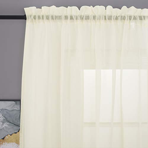 """MYSTIC-HOME Sheer Curtains 63 Inch Length, Rod Pocket Voile Drapes for Living Room, Bedroom, Window Treatments Semi Crinkle Curtain Panels for Yard, Patio, Parlor, Set of 2, 52""""x 63"""", Beige"""