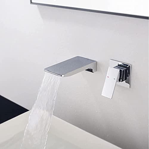 HTOUR Cascada de Pared Negra Mate Grúa mezcladora de Agua fría y Caliente Grifo del Lavabo del baño Grifo de la bañera Grifo de la Ducha Estilo Cromado