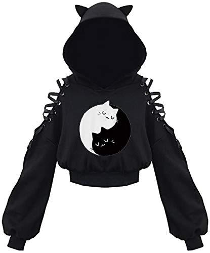 PANOZON Sudadera Corta con Capucha Orejas de Gato para Mujer Chicas Disfraz de Anime Ropa Graciosa (S, Gato Blanco-6)