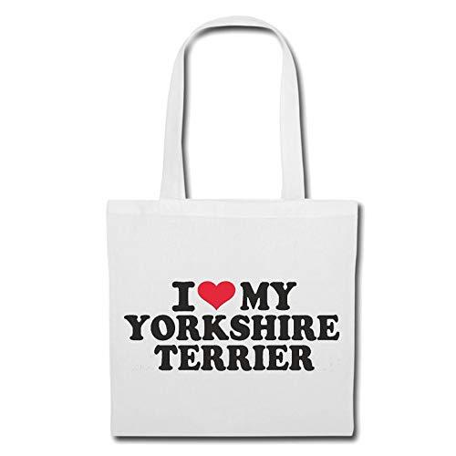 Tasche Umhängetasche I Love My Yorkshire Terrier - Hundesport - RASSEHUND - Hundezucht - HUNDEAUSBILDUNG Einkaufstasche Schulbeutel Turnbeutel in Weiß