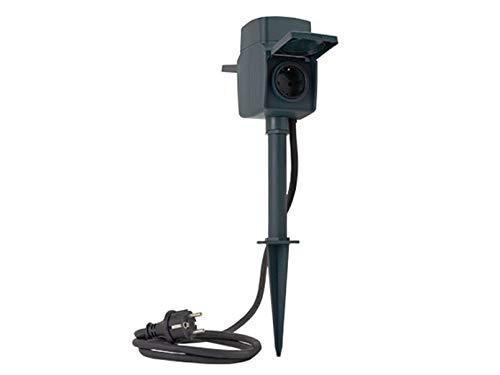 REV Ritter WiFi buitenstopcontact | Tuinstopcontact | Tuinspies | Voor stroom in de tuin | Stroomverdeler | Timer | Link2Home | WLAN, grondpen | bevestigingsplaat | 2 stopcontacten