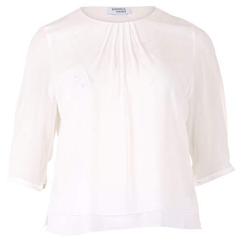 Zomerman luchtige lichte blouse met plooien op de uitsnede