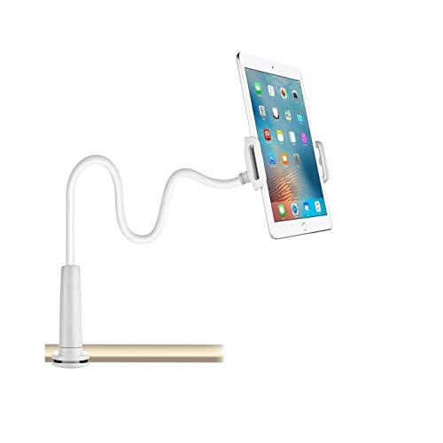 CHANG - Soporte de cuello de cisne para tablet o teléfono, ajustable y desmontable, con soporte para dispositivos Apple o Android de 4 a 10,6 pulgadas, longitud total de 80 cm, color blanco