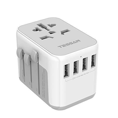 TESSAN Adaptador Enchufe de Viaje Universal, Internacional Adaptador Enchufes con 4 USB, Cargador Universal para EU, Reino Unido, Americano, Canadá, Australia y Otros países