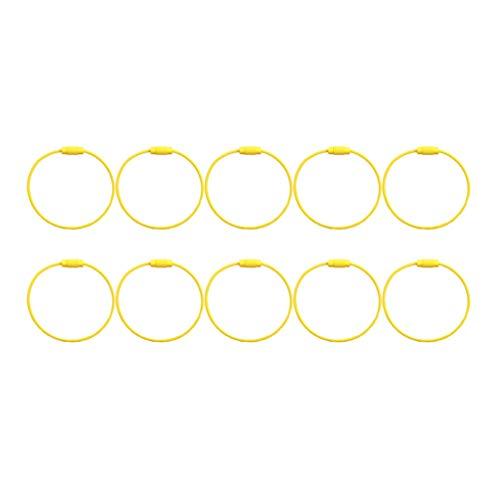 Exceart 10 Stück Metalldraht Schlüsselanhänger Metalldrahtschlaufe Schlüsselanhänger Kabel Schlüsselringe Kabelschlaufenringe zum Aufhängen von Gepäckanhänger ID-Tag Gelb
