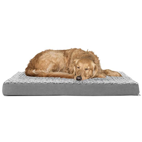 Furhaven Pet Dog Bed - Deluxe Orthopedic Mat Ultra Plush Faux Fur Traditional Foam Mattress Pet Bed with Removable Cover for Dogs and Cats, Gray, Large