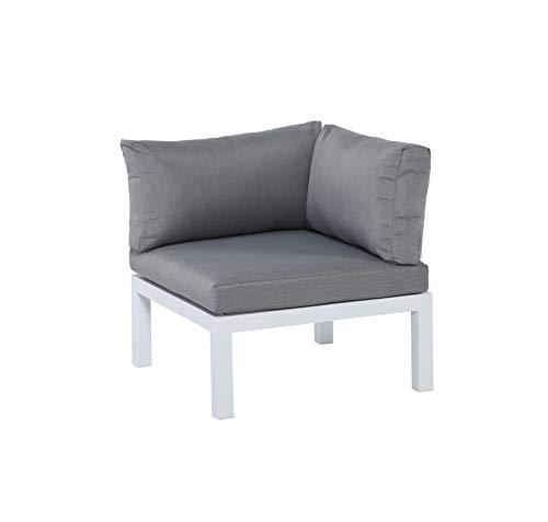 Gartenfreude Aluminium Ecksitz Ambience, flexibel einsetzbar mit wasserabweisenden Kissen, Weiß/Grau Asiento de Esquina, Flexible, Blanco-Gris