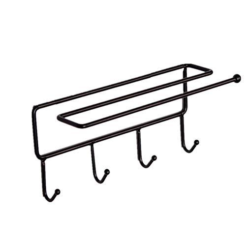 Corldif Creative Storage Shelf 2 Pack Kitchen Bathroom Hook Towel Rag Stand Nailless Design Easy to Install Black