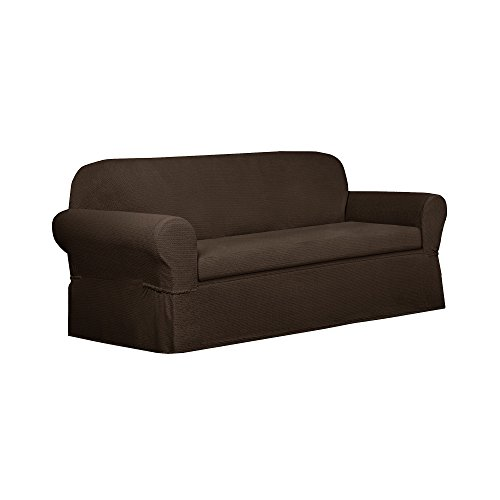 MAYTEX Torie Stretch 2Piece Sofa Furniture Cover/Slipcover, Chocolate