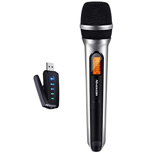 USB Wireless Microphone, Alvoxcon UHF Dynamic mic for Android, PC Computer, Laptop, PA, Podcasting, Vlogging, YouTube, Vocal Recording, Gaming, Singing Practice (System with USB Receiver)