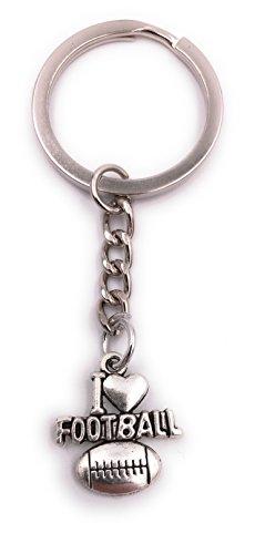 H-Customs I Love Football Schlüsselanhänger Anhänger Silber aus Metall