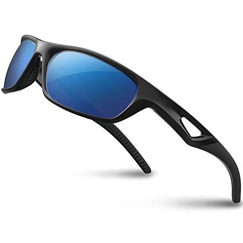Vimbloom Hombre Gafas de Sol Deportivas polarizadas para béisbol, Atletismo, Ciclismo, Golf, Pesca VI685 (Negro Mate Azul)