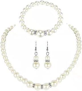 Wedding Pearl Necklace Earrings Set Crystal Bridal Faux Pearl Pendant Necklace Bracelet Dangle Jewelry for Women Grils Bri...