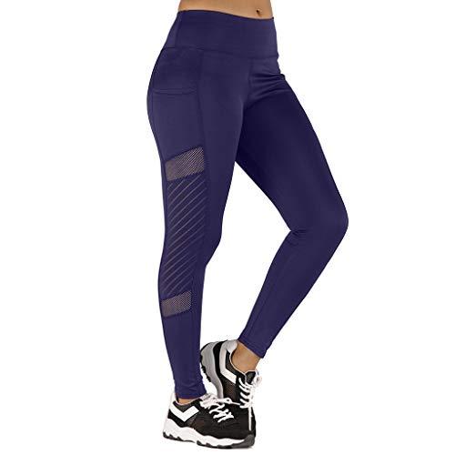 LEKODE Women Womens Sweatpants Elastic Pocket Leggings Workout Daily Casual Yoga Trousers(Blue,XS)
