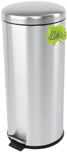 Made for us 30 L Edelstahl Tret-Abfalleimer Küchen-Mülleimer 30 Liter Abfallsammler Treteimer mit Deckel Abfall-Behälter für Gelber-Sack Kompost Rest-Müll original Made for us