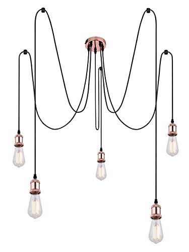 Lampada a sospensione vintage in rame industriale, lampada a sospensione per cucina, sala da pranzo (lampada da cucina, 5 fiamme, lampada a sospensione, stile retrò, altezza 200 cm)
