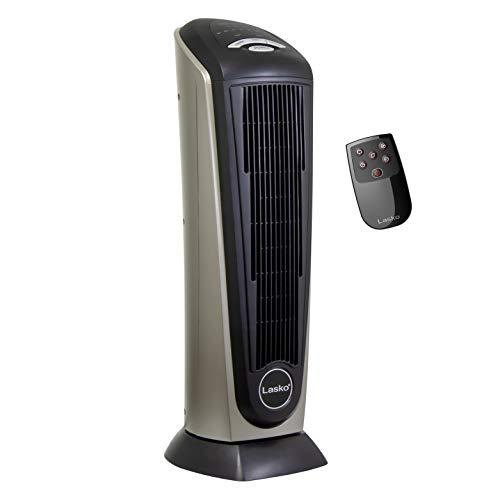 Lasko Ceramic Tower Heater with Remote Control, Black, Silver–F