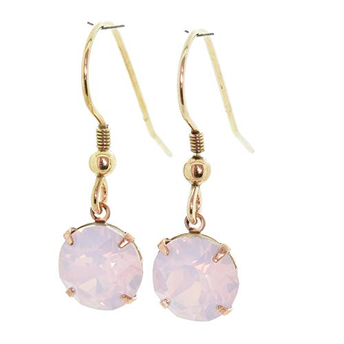 pewterhooter 14K Rose gold-plated Sterling Silver drop earrings for women made with Rose Water Opal crystal from Swarovski. Gift box. Made in the UK. Hypoallergenic & Nickle Free for Sensitive Ears.