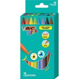 BIC BICBKPC16AST Kids Crayons44; Assorted Color- Pack of 16