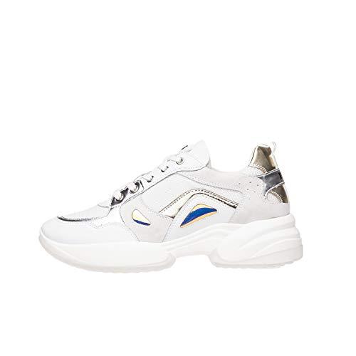 Nero Giardini E010813D - Zapatillas deportivas para mujer de piel, ante y pintura