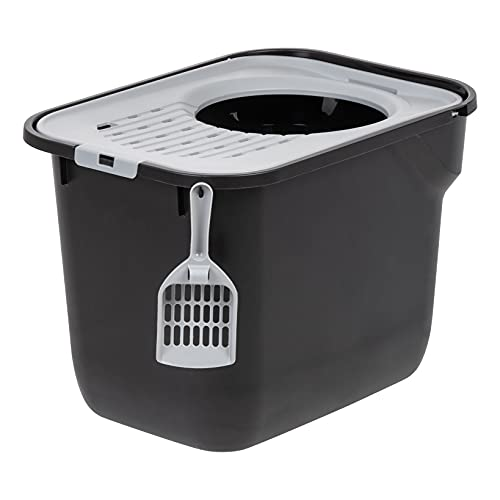 IRIS USA Square Large Top Entry Cat Litter Box with Cat Litter Scoop, Black/Gray