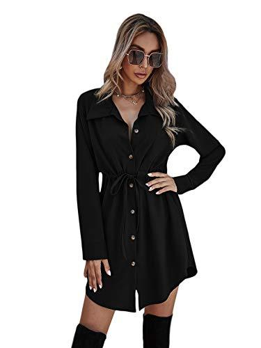 SOLY HUX Elegancka damska sukienka koszuli, dekolt w serek, z długim rękawem, na jesień, tunika, ze ściągaczem, jednokolorowa, na czas wolny, guziki, sukienka koszulowa, krótka sukienka