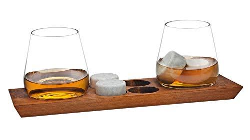 Godinger Whiskey Glasses and Chilling Rocks Whiskey Stones Bar Set on Wooden Display Tray