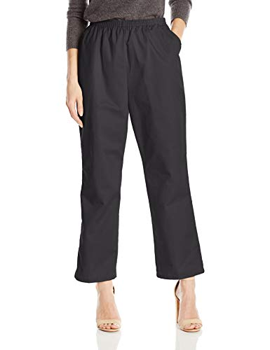 Chic Classic Collection Women's Petite Cotton Pull-On Pant with Elastic Waist, Black Twill, 10P