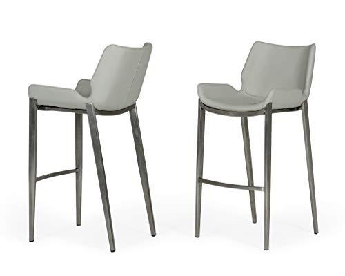 Limari Home Jorma Collection Modern Style Leatherette Bar Stool with Brushed Stainless Steel Frame, Legs and Footrest (Set of 2), Gray