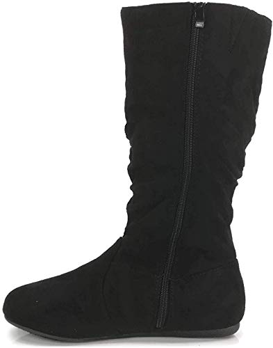 Wells Collection Womens Boots Soft Slouchy Flat to Low Heel Under Knee High, Black, 8.5