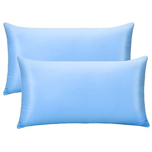Luxear 2er Pack Kissenbezug, Kissenhülle weichdünn atmungsaktiv mit Reißverschluss, vollelastische und Haare/Haut schonende Kissenbezüge für Schlafzimmer Sofa Deko, 40 x 80 cm-Blau