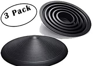 Door Stopper | Low-Profile All-Purpose Circular Door Stop Holds Doors Open Without Getting in The Way | All Grip Design Works On All Doors and Surfaces | Black 3 Pack