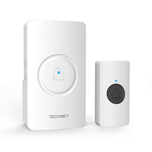 TECKNET Wireless Doorbell, Cordless Doorbell Waterproof Wall Plug-in Door Chime Kit...