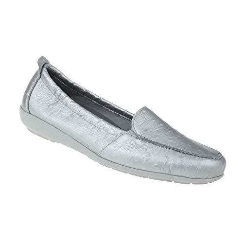 Natural Feet Damen Mokassin Aurelia | Echtes Hirschleder | Weite H | Hallux geeignet 39 Silber