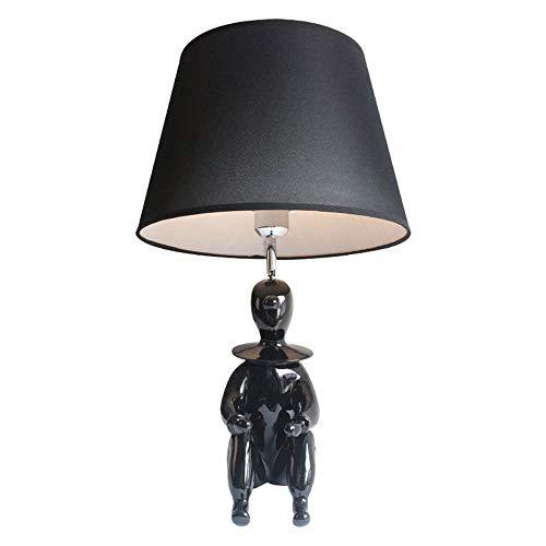 Tesysyet Sencilla Creativo De La Historieta De Resina Negro Lámpara del Dormitorio De La Lámpara Decorativa De La Lámpara Llevó La Lámpara De La Habitación De Los Niños Creativos 1 * E27 (35 * 57 Cm)